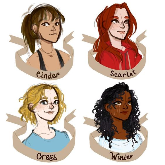 the main girls from the lunar chronicles by marissa meyer // drawing by limevines.tumblr.com