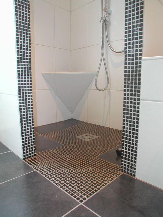 Douche hoek met betegeld zitje badkamerideeen pinterest met en zoeken - Open douche ruimte ...