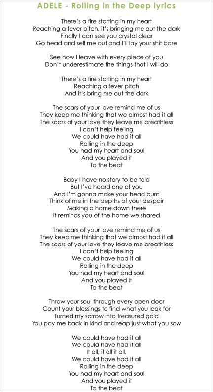 Rolling Deep The Inrolling In The Deep Adele Lyrics Adele Songs Music Quotes Lyrics