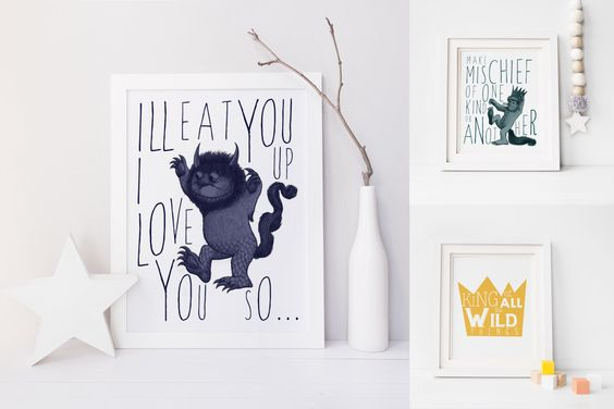 Where the Wild Things Are Nursery Printable. Where the Wild Things Are. Ill Eat You Up I Love You So. by RaeandLiz on Etsy https://www.etsy.com/listing/272546572/where-the-wild-things-are-nursery