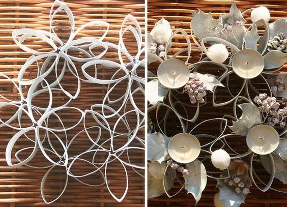 Centro de mesa con flores de cartón