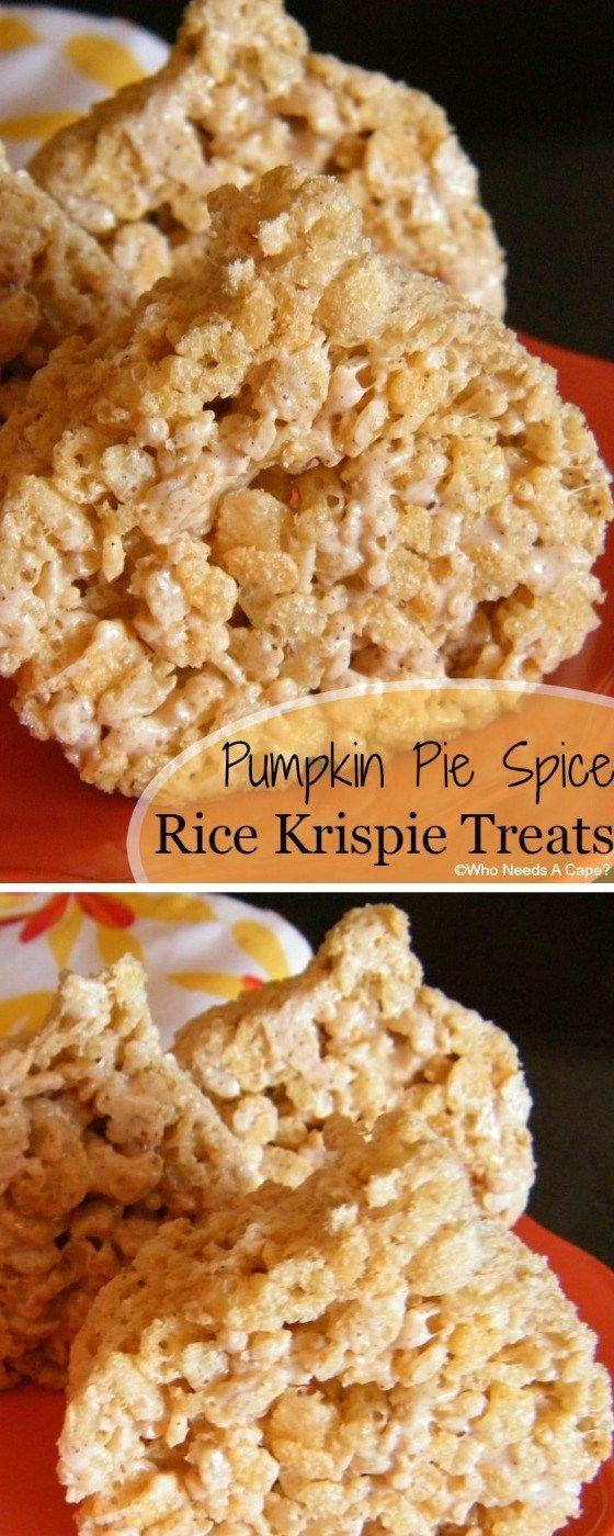 These Pumpkin Pie Spice Rice Krispie Treats are a tasty fall treat ...