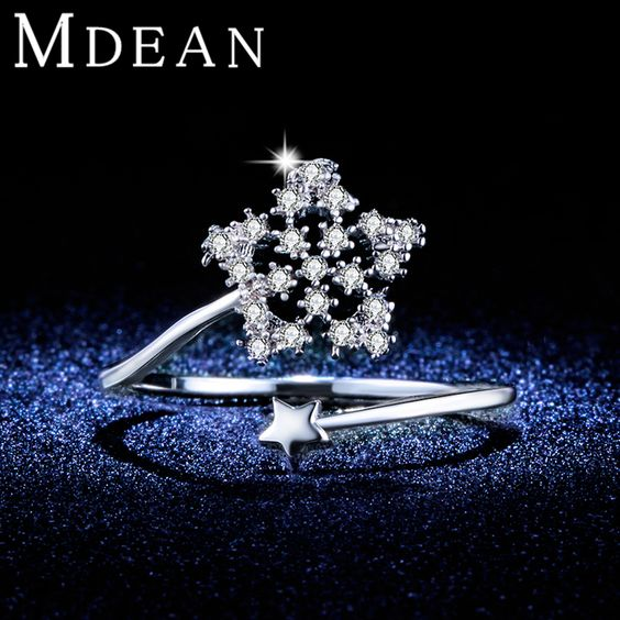 MDEAN Opened Size Cute Star Rings For Women White Gold Plated ring CZ diamond Jewelry Bague fashion Accessories Bijoux MSR347