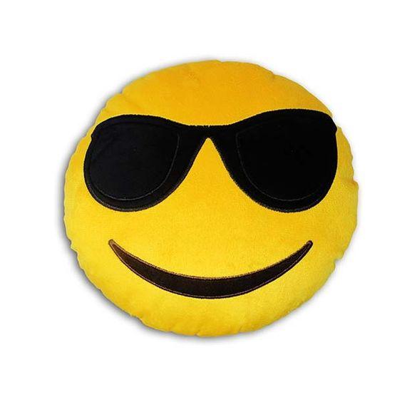 Almofada Redonda Emoji Óculos Escuros