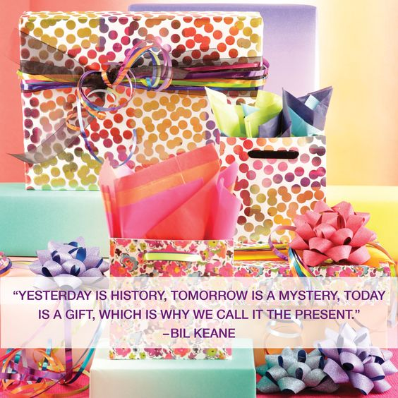 """""""Yesterday is history, tomorrow is a mystery, today is a #gift, which is why we call it the #present."""" -Bil Keane. Wrap it up with help from The Gift Wrap Company. One-stop shopping for everything from gift wrap to ribbon. www.giftwrapcompany.com (Sponsored) #Giftwrap #Inspiration"""