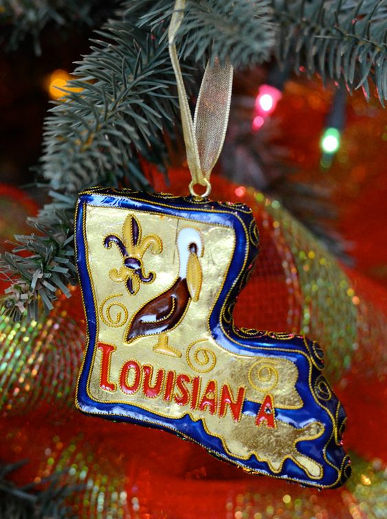 #Louisiana State Cloisonne #Ornament decorated with a pelican and fleur de lis.