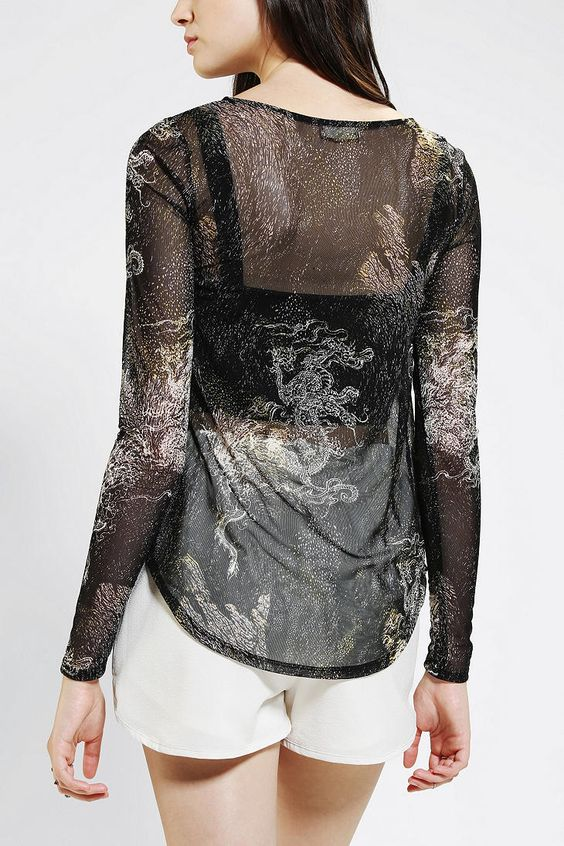 Silence + Noise Irezumi Mesh Long-Sleeve Tee Mesh it up in this awesome long-sleeve top from Silence + Noise.  Super soft lightweight sheer construction topped with a banded scoopneck and cuffs.  UO Exclusive. Dragon pattern $29.99