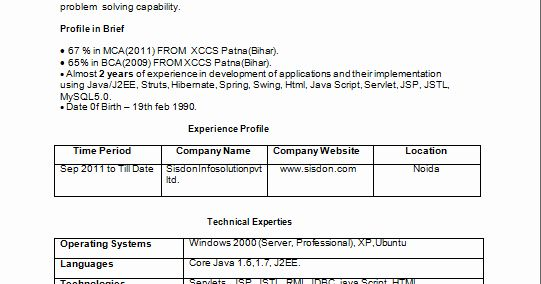 Java Developer Resume 2 Years Experience Awesome Java J2ee 2 Years Experience Resume Good Resume Examples Resume Years Experience