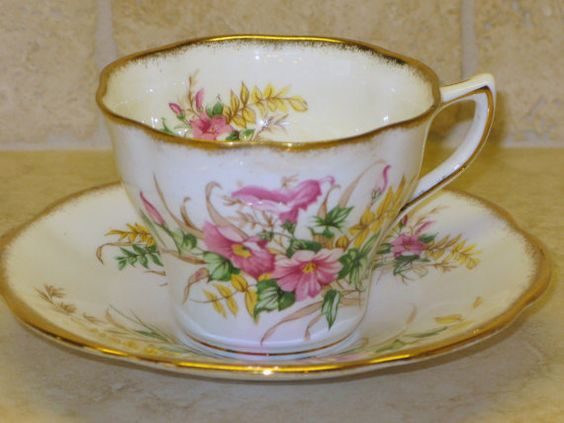 Antique ROSINA Bone China England Cup and Saucer by AntiqueAllice, $17.50