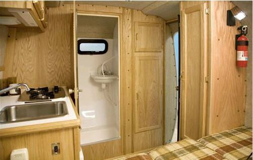 Scamp Delux 13 Foot Interior A Bathroom Is A Comforting