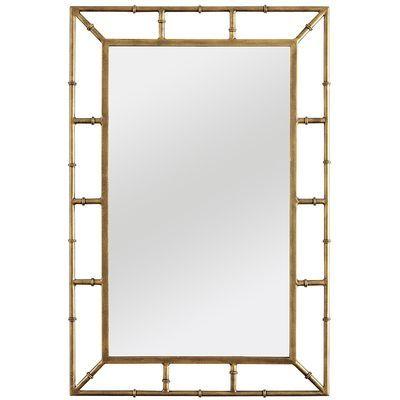 zhu mirror, pier , color gold iron, mirror, engineered wood, bamboo framed bathroom mirrors