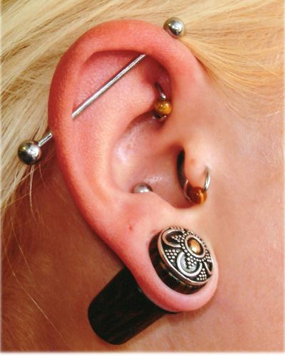 Some people acquire piercings to support their own beliefs. Others do it as a thrill or rush. Society, especially in the work force, will not usually hire someone with gauges in their ears or with multiples earrings in at a time. Just another way in which society is controlling our bodies.