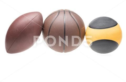 Closeup Shot Of Various Sport Balls Rugby Basketball And Medicine Isolate Stock Photo 81823685 Sports Balls Rugby Sport Rugby