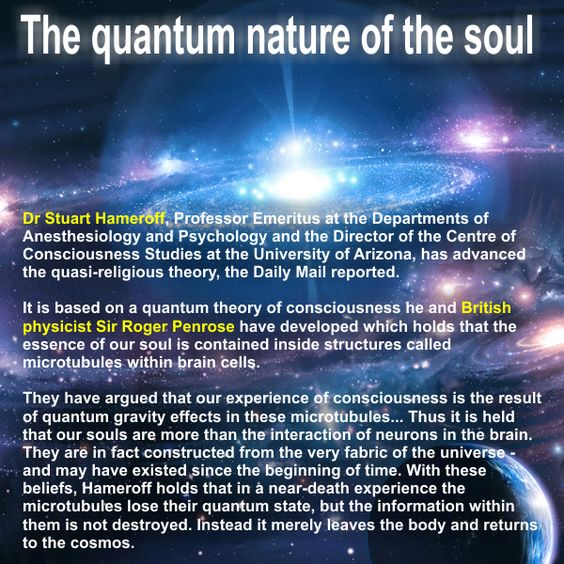 Quantum nature of the soul http://zeenews.india.com/news/space/scientists-unveil-quantum-theory-of-soul-s-existence_808671.html