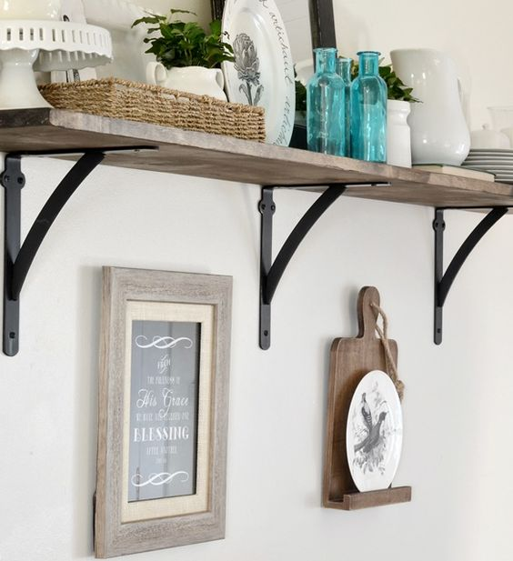 we created an easy diy open kitchen shelf for our dining area