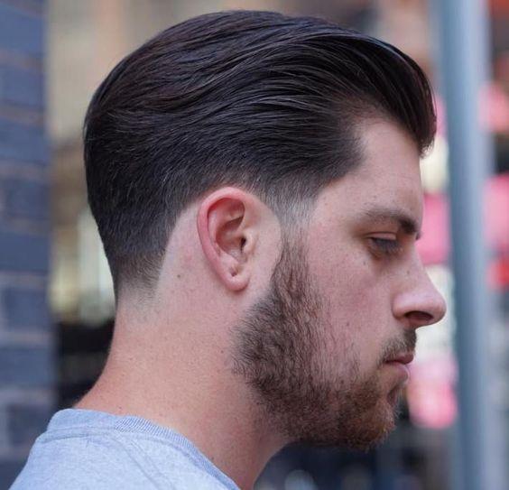 Low Skin Taper, Brushed Back Hair,