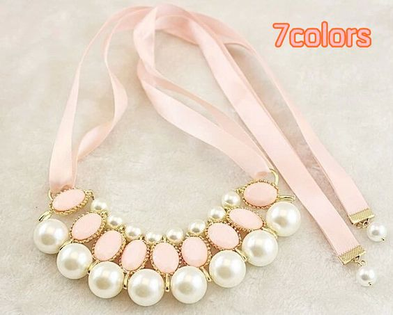 new women fashion elegant Pearls Candy Color choker Pendant Chain necklace jewelry for women 7 colors