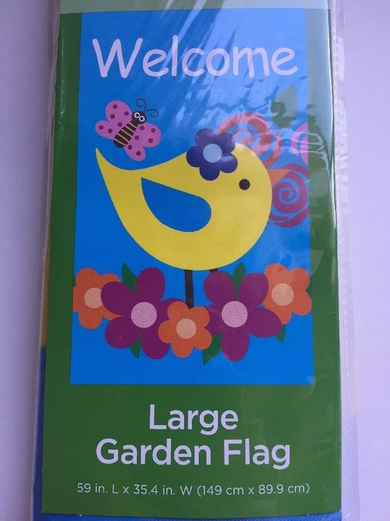 Garden Flag Large Welcome Flowers Yard Decor 59 x 35 inches Bird Butterfly