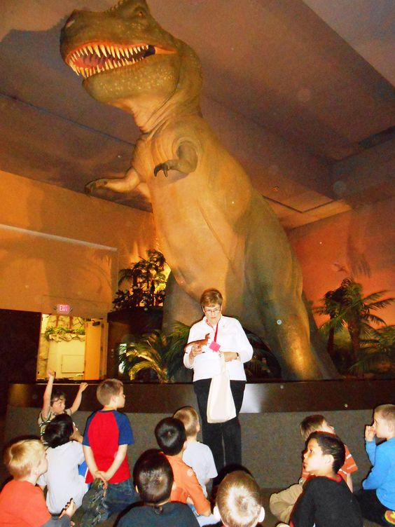Students travel back in time to the era of the dinosaurs during a recent highlights tour of the Springfield Science Museum.