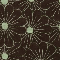 Handmade New Zealand Wool Daisies Brown Rug (5'x 8')