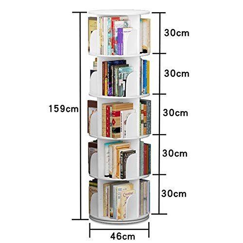 Hong Jie Yuan Bookcase Modern Minimalist Round Creative Rotating Bookshelf White Bookcase Shelf 4 Sizes Minimalist Bookcase Bookshelves Modern Minimalist