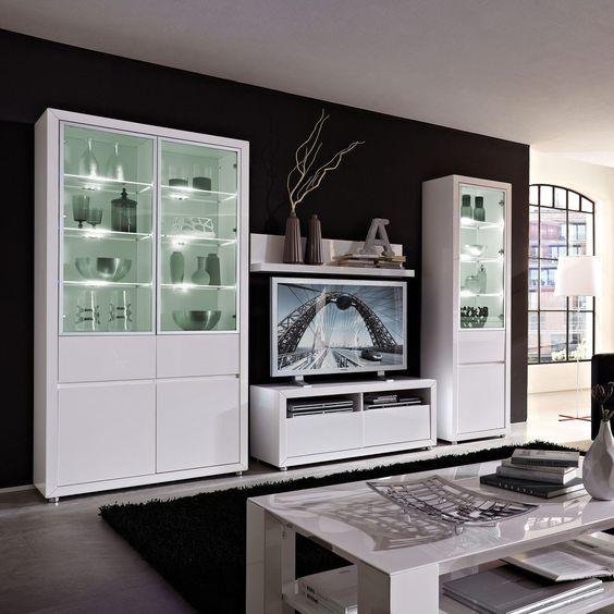 Wohnwand 4tlg. Fiona Hochglanz Weiß - Möbel günstig online kaufen