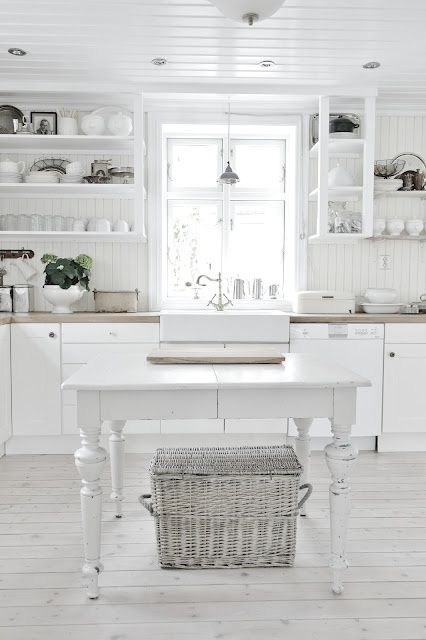 Decorating with White @Remodelaholic - white kitchen with open shelving