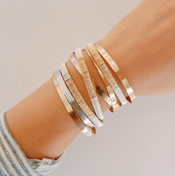We love mixed metal arm-stacks for any occasion. Judith Bright Jewelry. Handmade in Nashville, TN
