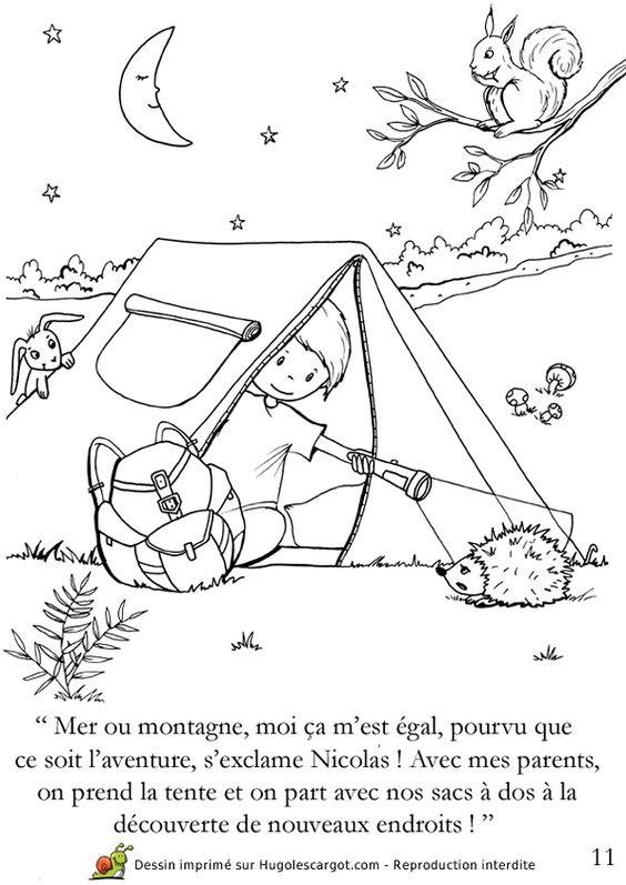 Coloriage d un enfant au camping coloriages vacances d - Coloriage d un enfant ...