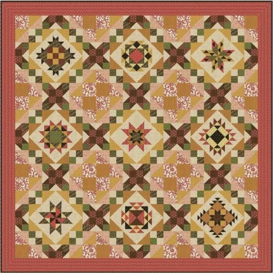 """Jo's Prairie Rose Quilt Block of the Month  Designed by Jo Morton Finished 100"""" square"""