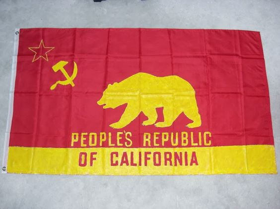 One of a Kind Red and Yellow People's Republic of California Bear Flag | Bear Flag Museum
