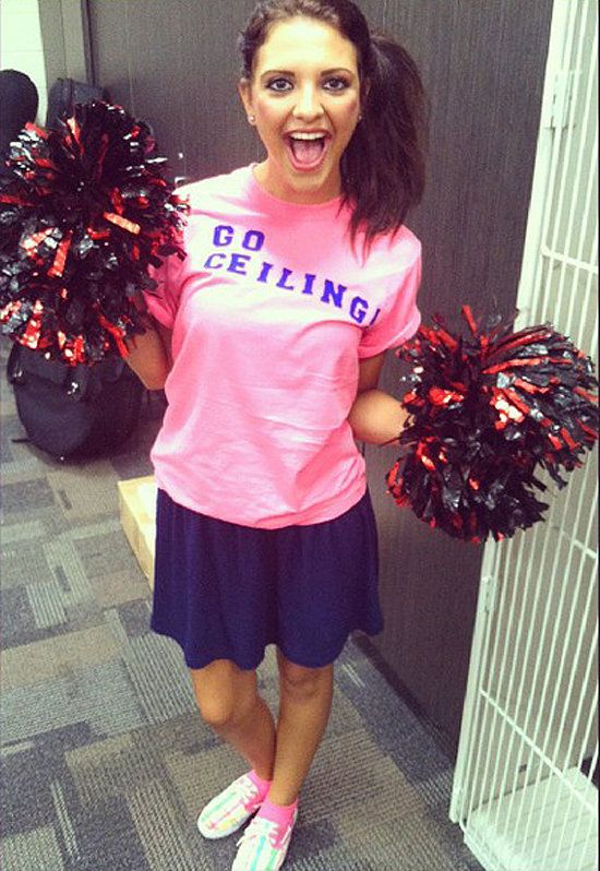 Ceiling Fan: Channel your high school days and grab some pom-poms for this easy peasy get-up. The only thing missing is a custom t-shirt that says ceiling. Go team!   Source: Instagram user kayleebay123: