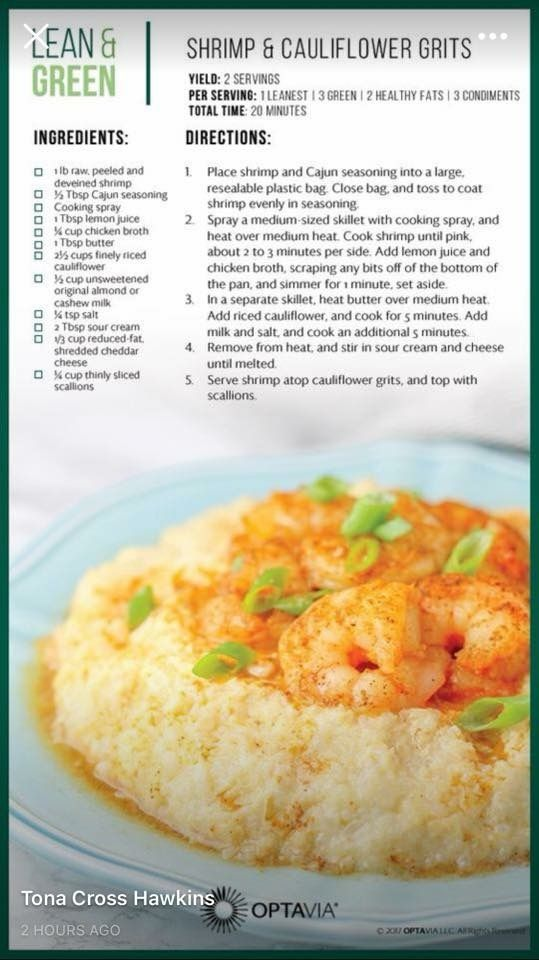 Shrimp And Cauliflower Grits Lean And Green Meals