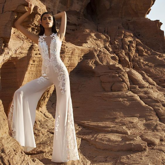 bridal jumpsuit pantsuit lace: