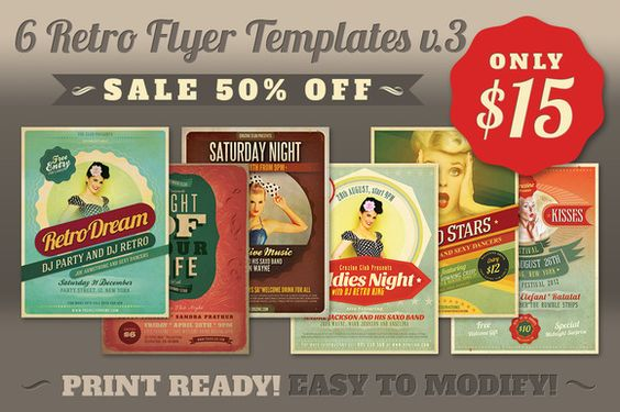 Check out SALE 6Retro Flyer Templates v3 by Cruzine on Creative - retro flyer templates