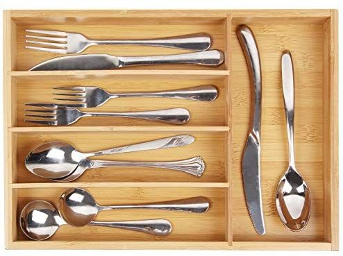 Amazon Com Silverware Utensil Cutlery Tray Bamboo Wooden Drawer