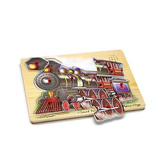 All aboard! This wooden peg puzzle sounds like a steam engine when all nine pieces are correctly placed in the puzzle board! Full-color, matching picture under each piece.