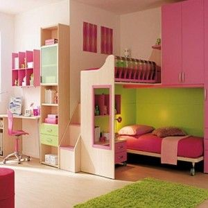 Appealing Minimalist Bunk Bed Set With Stairs Complete With Adjoining Pink Wardrobe As Featuring Small Study Desk With Adjoining Shelf