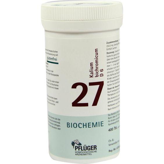 BIOCHEMIE Pflueger Schüssler Salz 27 Kalium bichro. D6 Tabletten:   Packungsinhalt: 400 St Tabletten PZN: 05919268 Hersteller: A.Pflüger…