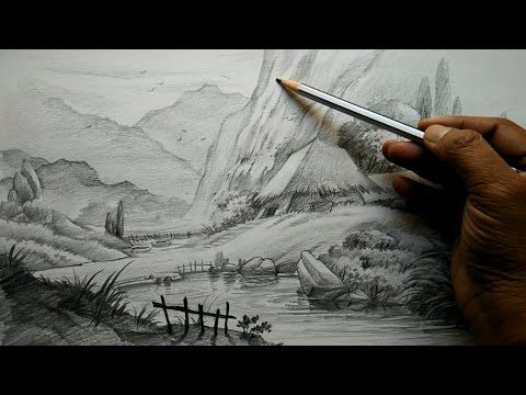 How To Draw Village Landscape With Pencil By Paintlane Drawing Technique Art Painting Images Scenery Drawing Pencil Pencil Art Drawings