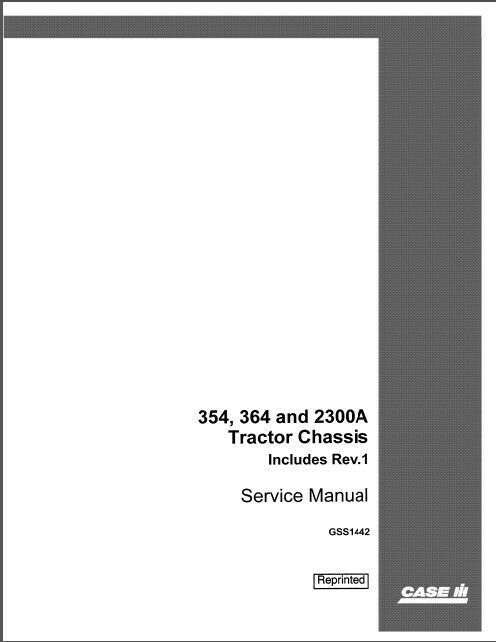 Case Ih Tractor 354 2300a Chassis Service Manual Pdf Download Ebay In 2020 Case Ih Tractors Case Ih Case