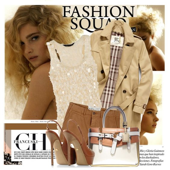 Same cream sequin top with dk. taupe pumps, slacks and raincoat, Polyvore