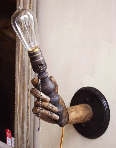 Steampunk Light Held By An Old Wooden Hand Great Idea For Steampunk Decor Everything