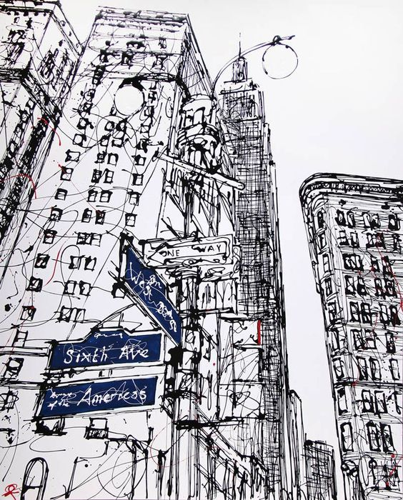 New York line drawing - Paul Kenton Semi continuous line almost to the point of scribble hatching