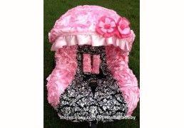 Damask Pink infant car seat cover