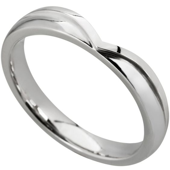 Buy 9ct White Gold Diamond Set Wishbone Wedding Ring at Argos