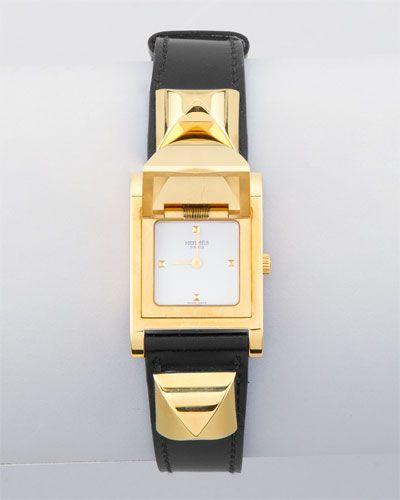 Hermes Black Leather Medor Watch