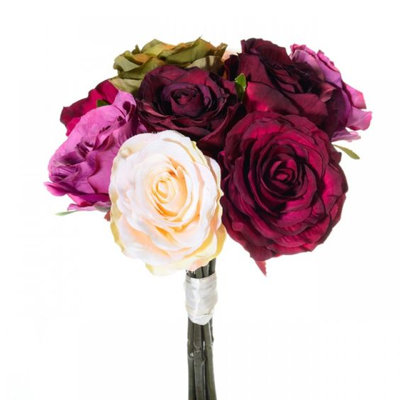 Rose Bundle Cream, Pink and Green 40 cm