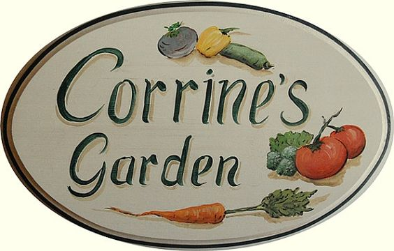 Custom garden signs - hand painted large garden sign for your vegetable garden
