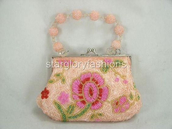Chic Apricot Pink Fully Beaded Pink Flower Purse Clutch Evening Bag #Handmade #Clutch